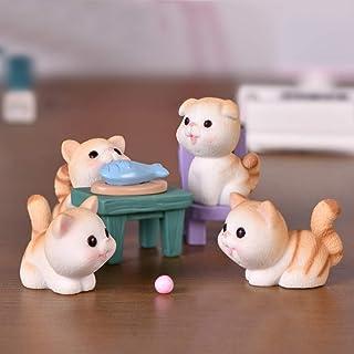 Ruzucoda Miniature Cats Figurines Cute Kitty Animal Figure Fairy Garden Landscape Party Decorations 9 PCS