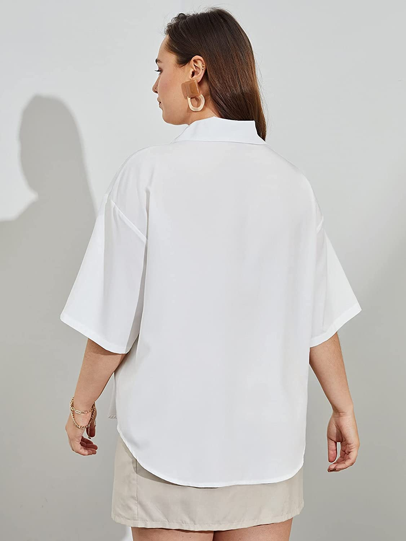Floerns Women's Plus Size Button Down Half Sleeve Collar Neck Blouse Shirt Tops