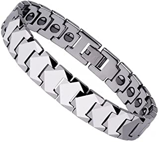 Silver Tungsten Carbide Magnetic Therapy Germanium Health Bracelet for Arthritis Pain Relief