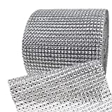 Bling Rhinestone Diamond Mesh Ribbon Wrap,Storystore Silver Acrylic Bling Diamond Wrap Ribbon for Wedding, Cake, Vase Decorations, Party Supplies (60Ft)