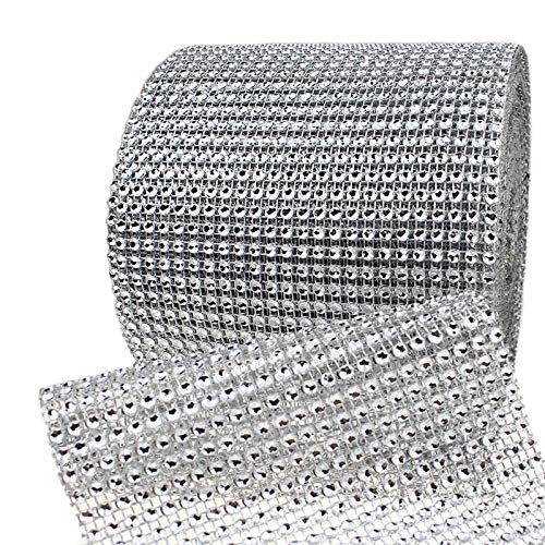 Bling Rhinestone Diamond Mesh Ribbon Wrap,Storystore Silver Acrylic Bling Diamond Wrap Ribbon for Wedding, Cake, Vase Decorations, Party Supplies (60Ft)