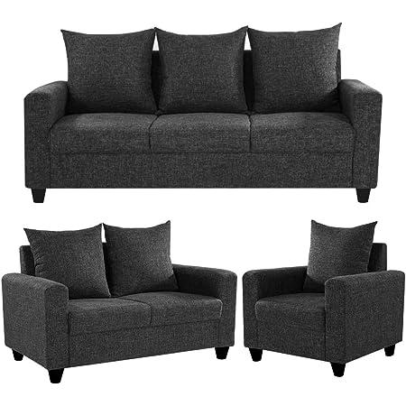 Furny Juan 6 Seater Fabric 3+2+1 Sofa Set (Dark Grey)