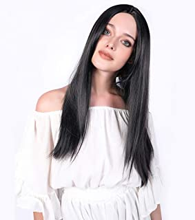 aSulis Synthetic Long Full Wig Straight Black Hair Wigs for Black Women Middle Part Wig Natural Looking Wig Heat Resistant Wig 28