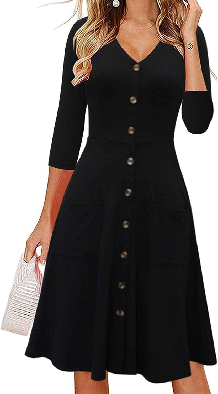 FABIURT Women Dresses,Women 3/4 Sleeve Stripe Print Cotton V Neck Fall Dress A-Line Dress with Pockets