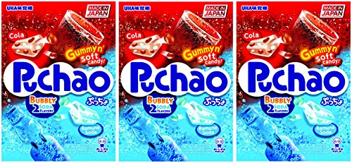 Puchao Gummy n' Soft Candy, Cola and Ramune Soda Flavors, 3.53 oz, Pack of 3