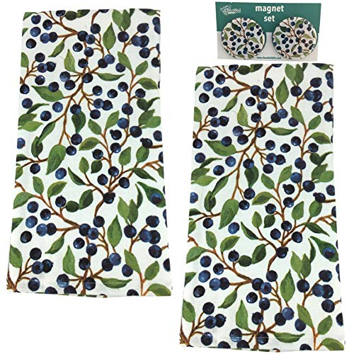 Blueberry Kitchen Towels. Spring Kitchen Cottagecore Decor. Two Cotton Terry Dish Towels and Two Strong Magnets