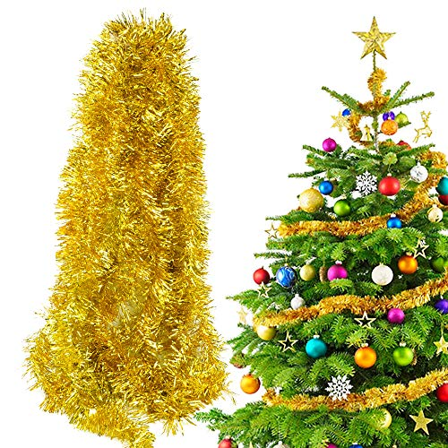 BHGT 6 Stück x 2m Weihnachten Lametta Girlande Metallisch Lametta Girlande Weihnachtsbaum Lametta Dekoration Lametta Draht Girlande für Weihnachten Dekoration Gold