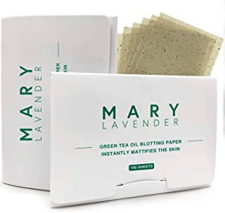 Marylavender Oil Blotting Paper sheets with Green Tea for Face,100% Natural Absorbing Excess Shine Oil Tissues for Both Men Women,Prevent Blackhead Acne,Free of Synthetic Fragrances,200 Sheets(2 Packs