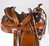"""Y&Z Enterprises - Sella in pelle per cavalli da corsa in stile occidentale, misura da 14"""" a 18"""" pollici disponibile per la testa in pelle, collare per il petto e redini (sedile da 15,9 cm)"""