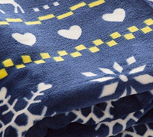 アイリスプラザ fondan 毛布 シングル プレミアムマイクロファイバー 洗える 静電気防止 クリスマス ギフト 特製BOX入り とろけるような肌触り エアコン対策 秋冬 ブランケット 品質保証書付 140×200cm ノルディック柄 ネイビー