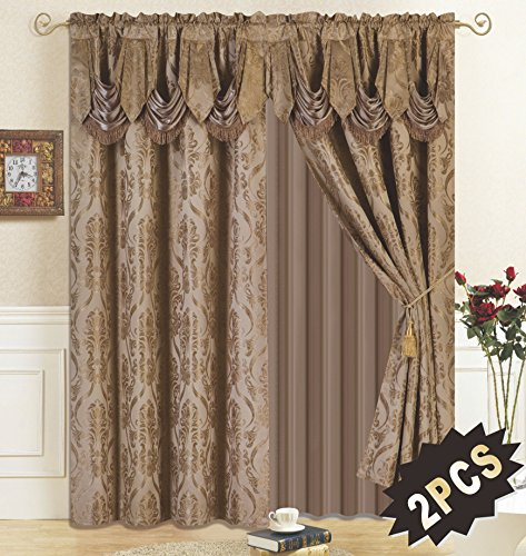 All American Collection New 4 Piece Drape Set with Attached Valance and Sheer with 2 Tie Backs Included (84' Length, Taupe)