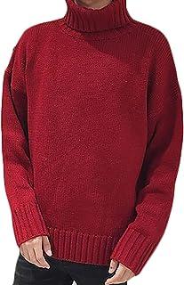 Pandapang Mens Classic Fit Knit Slim Jumper Crewneck Solid Color Sweater