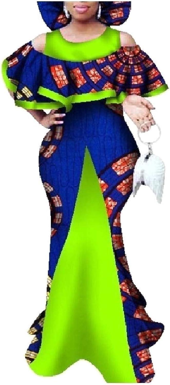 Baseby Womens Plus Size Back Cotton Ruffle African Maxi Long Dress