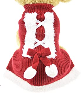 MuYaoPet Dog Sweaters for Christmas Winter Warm Dog Party Dress Clothes for Small and Medium Dog Dachshund