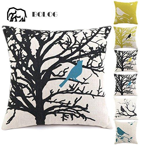 BOLOG Housse de Coussin Coton Lin Durable Canapé-lit Home Decor Taie d'oreiller Throw Haute Qualité,Bird on The Tree 60X60CM