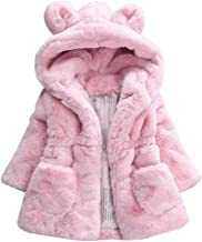 Baby Girls Cute Hooded Jacket Fall Winter Warm Coat Tops for 1-6 Years Little Kids Toddler Thicken Overcoat Clothes Set