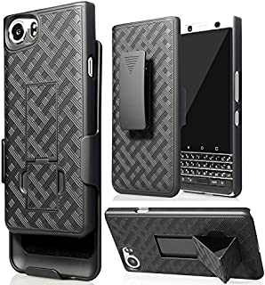 BlackBerry KEYone Clip Case, Nakedcellphone's Black Kickstand Case + Belt Clip Holster for BlackBerry KEYone Phone (Verizon/ATT/Sprint/Unlocked)