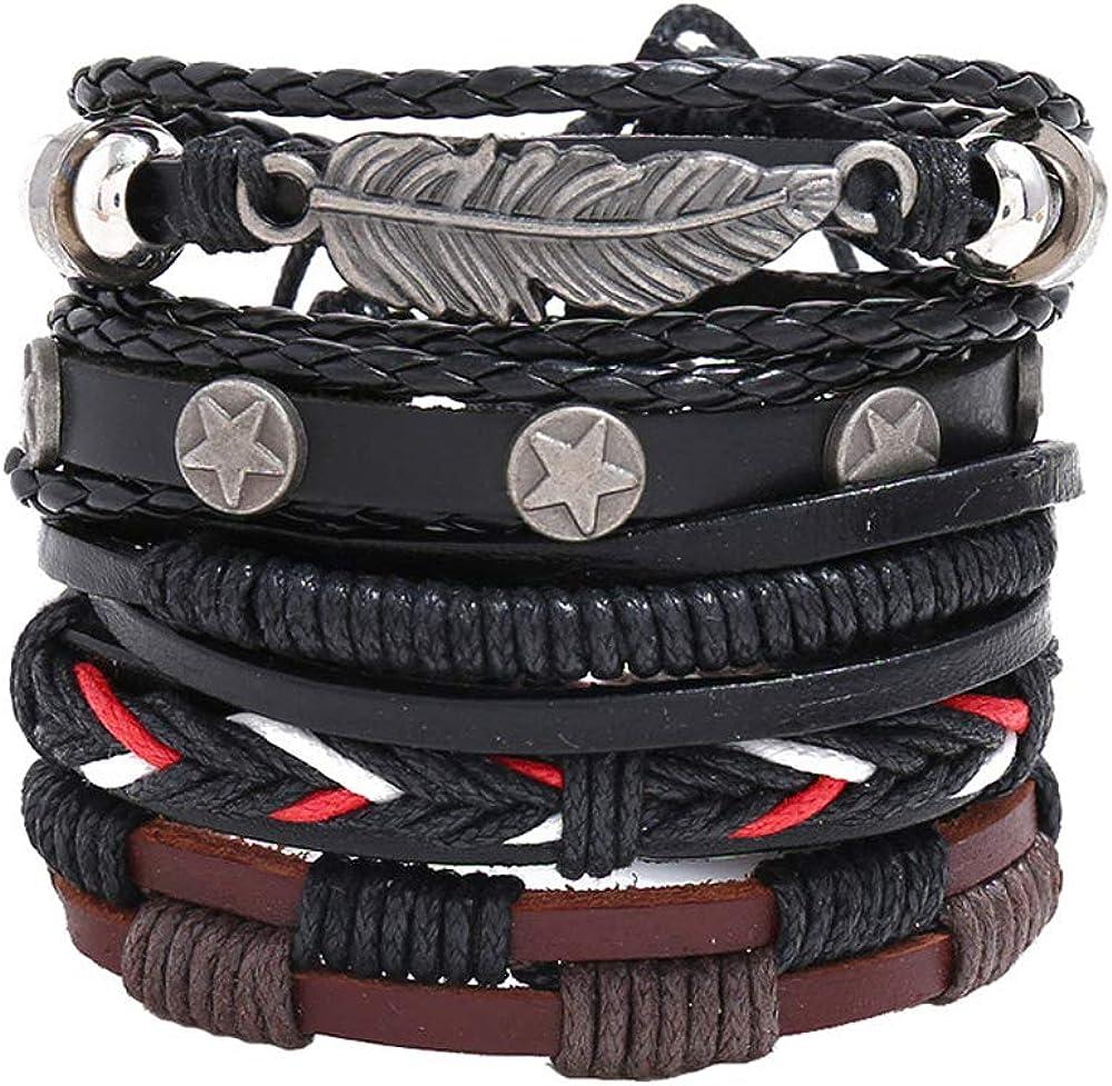 Kdeemua Braided Leather Wrap Bracelets Men Women,Ethnic Tribal Cuff Wrist Bracelets Wrap Adjustable