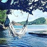 Hamac double de luxe pour 2 personnes - Hamac bohème brésilien à franges - 2 x 1,5 m