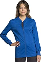 Cherokee Workwear Revolution Tech Zip Front Warm-Up Scrub Jacket, XS, Royal