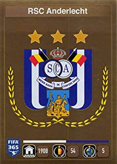 2015-16 Panini FIFA 365 Stickers Soccer #131 Logo RSC Anderlecht Trading Card Sized Album Sticker Golden shiny