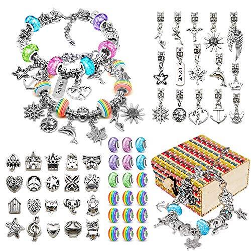 Bylark Jewellery Bracelet Making Kit for Girls, Craft SetsGift for 6-12 Year 0ld Girls Kids DIY Charm Bracelet Present Age 6-12 Girl Children Arts Craft Kids Birthday Gift Age 7 8 9 10 Girls Kid