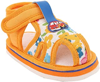 Hopscotch Bubbles Boys Rubber Car Applique Sandals in Gold Color
