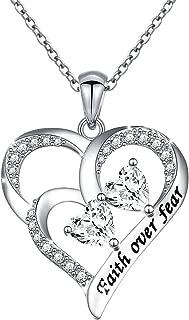 Alphm Gift for Women Girl S925 Sterling Silver Inspirational Faith Bracelet Pendant Necklace
