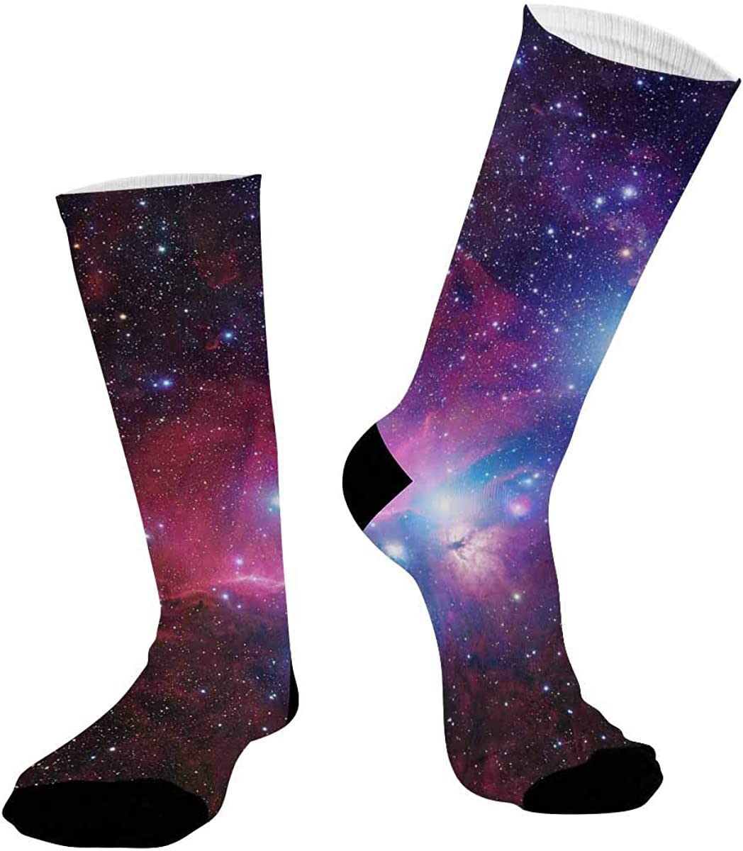 INTERESTPRINT Sublimated Hiking Dress Athletic Crew Socks Universe Filled with Stars