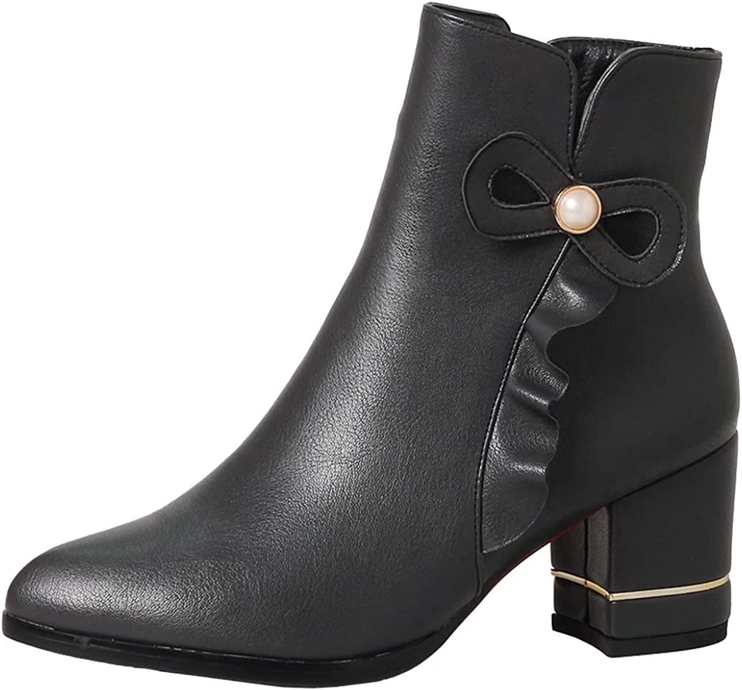AIYOUMEI Women's Pointed Toe Block Heel Booties Autumn Winter Ankle Boots with Bow