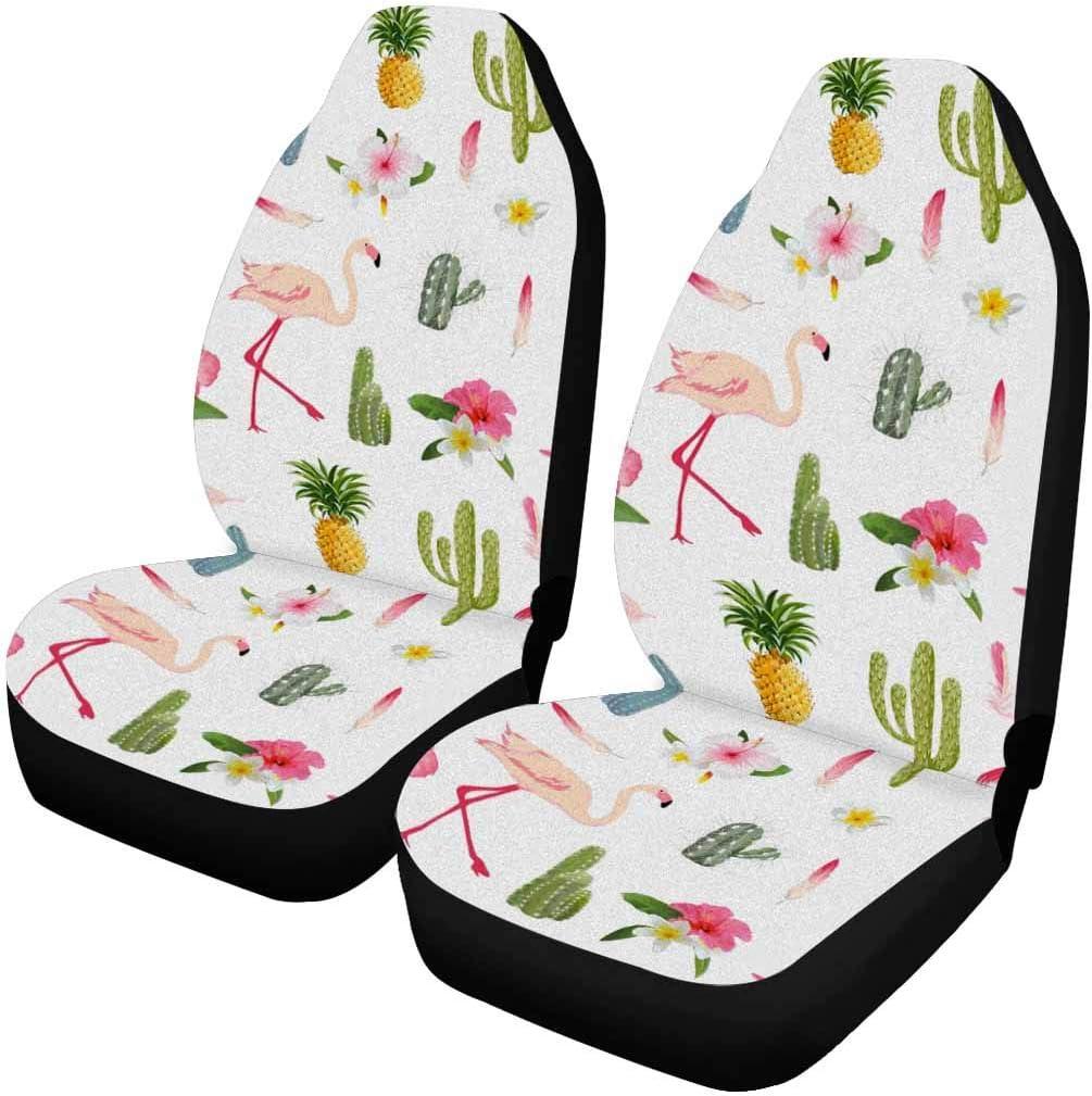 INTERESTPRINT Tropical Flamingo Bird Cactus Max 86% Max 47% OFF OFF Front 2 Seat Covers