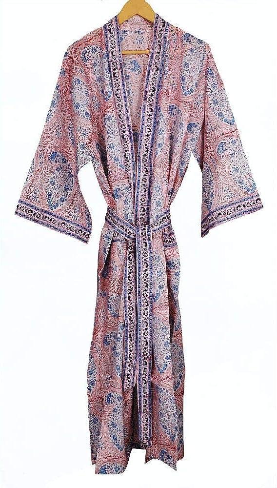 Fabricvenue Block Print Robes Handmade D Kimono Paisley Alternative dealer OFFicial