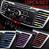 JNYUTECH 10Pcs/SET 20Cm Car Styling Interior Air Vent Grille Switch Rim Trim Outlet Scratch Guard Protector Car Styling Strip
