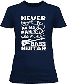 Old Man with Bass Guitar Tee Shirt Design, Shirt for Women