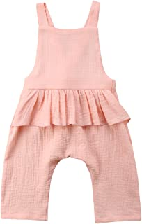 Baby Girl Sleeveless Ruffle Romper Jumpsuit Backless Playsuit Outfit Overalls