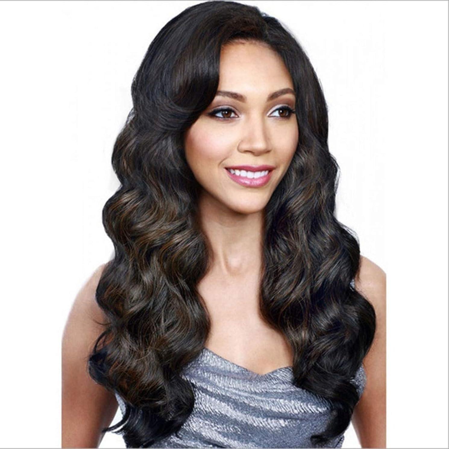 絶滅させるバリー混雑Kerwinner 女性のための長い巻き毛の層状の耐熱性合成毛髪のかつらを分けてヘアセンターで合成女性のかつら