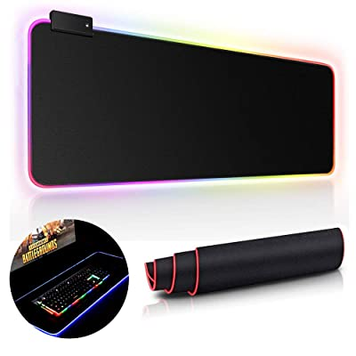 RGB Gaming Mouse Pad LED Extended Soft Computer...