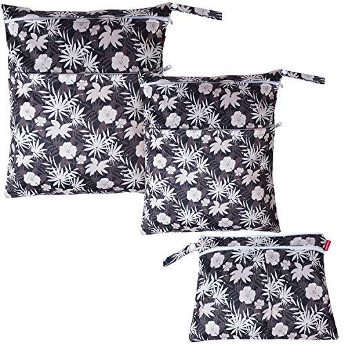 Damero3StückeTrockeneNasstasche,WaschbareBabywindeltaschenfürStoffwindeln,WiederverwendbareNasstasche,2Reißverschlusstaschen, Blumen braun