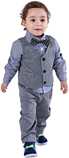 Abolai Baby Boys' 3 Piece Vest Set with Shirt,Vest and Pant