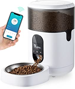 Prupet Automatic Cat Feeders, Timed Pet Food Dispenser with Stainless Steel Bowl, WiFi Enabled, APP Control, 10s Voice Recorder for Small / Medium Cats &Dogs -4L