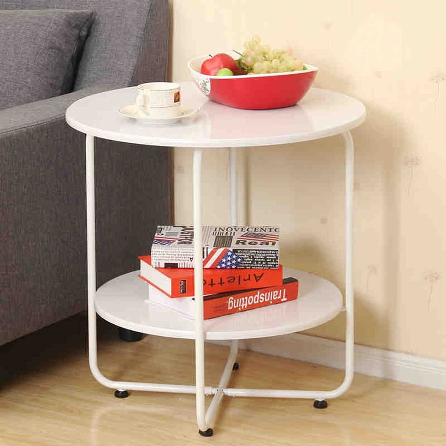 Sofa Side Table Living Room Small Round Table Bed Minimalist Mobile Small Coffee Table 606060.5cm (color   White)