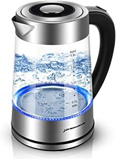Glass Electric Kettle, BPA-Free 1.8L Cordless Electric Glass Kettle with LED Blue Light, Fast Heating Glass Water Boiler with Auto Shut-Off & Boil-Dry Protection, Stainless Steel Inner Lid & Bottom
