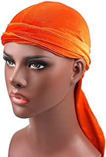 New Fashion Clothing Accessories Velvet Turban Cap Long-tailed Pirate Hat Chemotherapy Cap (Army Green) (Color : Orange)