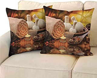 QIAOQIAOLO Pack of 2 Indoor Pillowcase Spa Decor Collection Double-Sided Printing 18x18 inch Outdoor Spa Massage Setting at Sunset with Candlelight Reflections Culture Picture Brown Ivory Cream