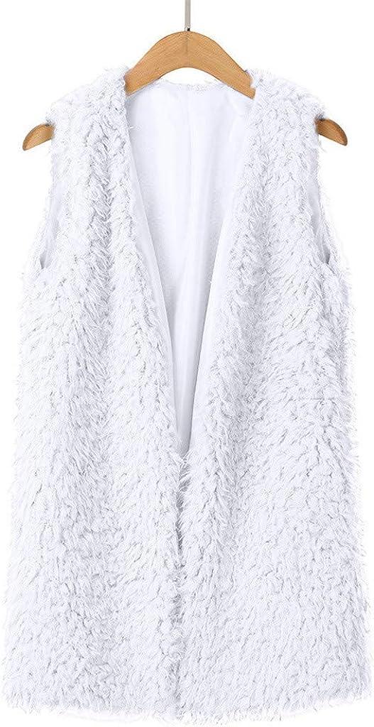 Xmiral Plüsch-Jacke Damen Ärmellos Warme Weste Kunstpelz Einfarbig Strickjacke Mantel mit Taschen Weiß