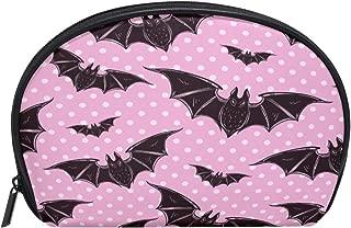ALAZA Bat Polka Dot Half Moon Cosmetic Makeup Toiletry Bag Pouch Travel Handy Purse Organizer Bag for Women Girls