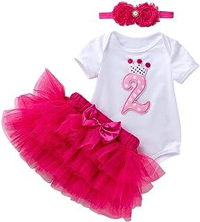 Marlegard Baby Girls Crown Second Birthday Jumpsuit Tutu Skirt Headband Outfits for 24M