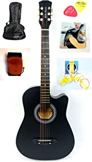 Mike Music 38 inch Acoustic Guitar with bag and strap and Extra String and Capo Right Hand (38 inch matte, black)