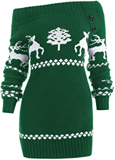 WUAI Womens Christmas Ugly Sweater Pullover Off Shoulder Knit Christmas Tree Pattern Fashion Slim Fit Tops Outwear