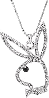 SpinningDaisy Silver Plated Open Face Play Bunny Necklace